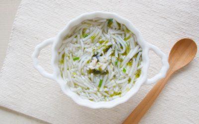 魚と焼きのりのにゅう麺(調理時間:約8分)*初期から