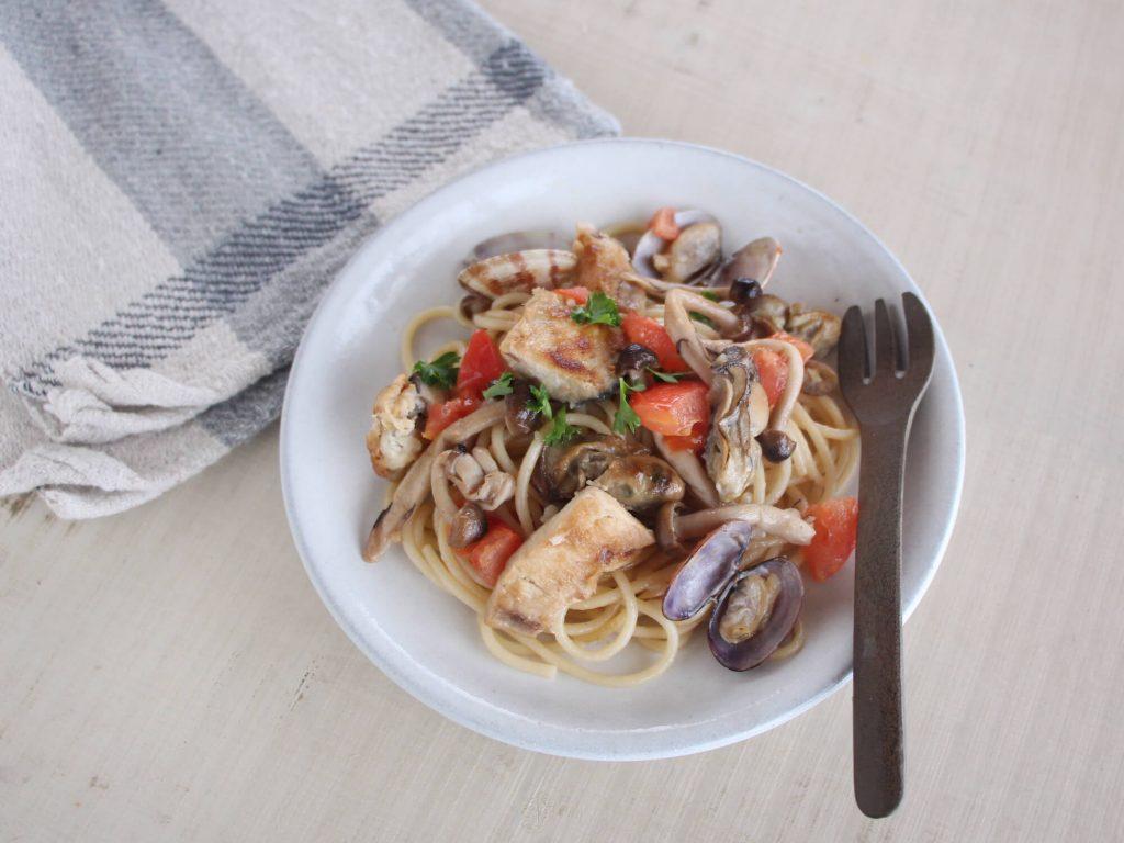 mogcookのお魚幼児食レシピ シーフードパスタ