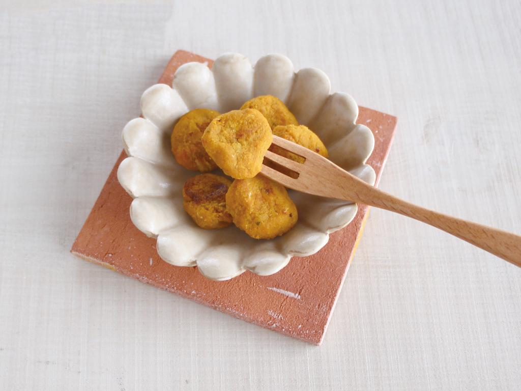 mogcookのお魚離乳食レシピ 魚とカボチャのまるまるきな粉