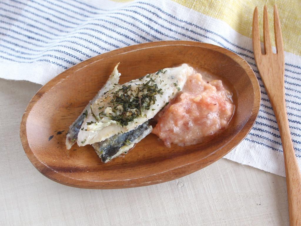 mogcookのお魚離乳食レシピ 魚の味噌トマトソースかけ