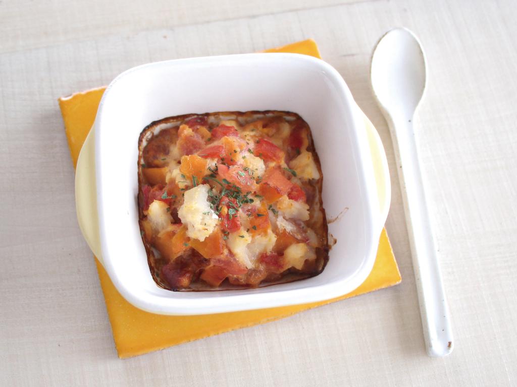 mogcookのお魚離乳食レシピ 魚と夏野菜の豆乳チーズココット