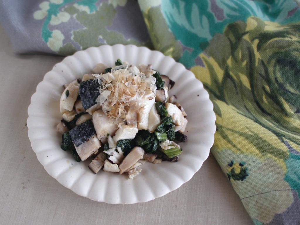 mogcookのお魚離乳食レシピ 魚と豆腐の小松菜炒め