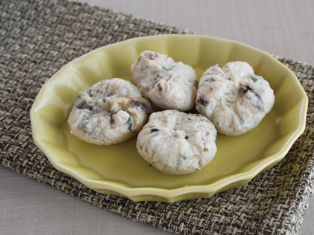 mogcookのお魚離乳食レシピ 魚と焼きのりの茶巾豆腐蒸し