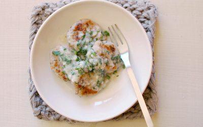 魚とホタテのきのこバーグ(調理時間:約10分)*完了期から